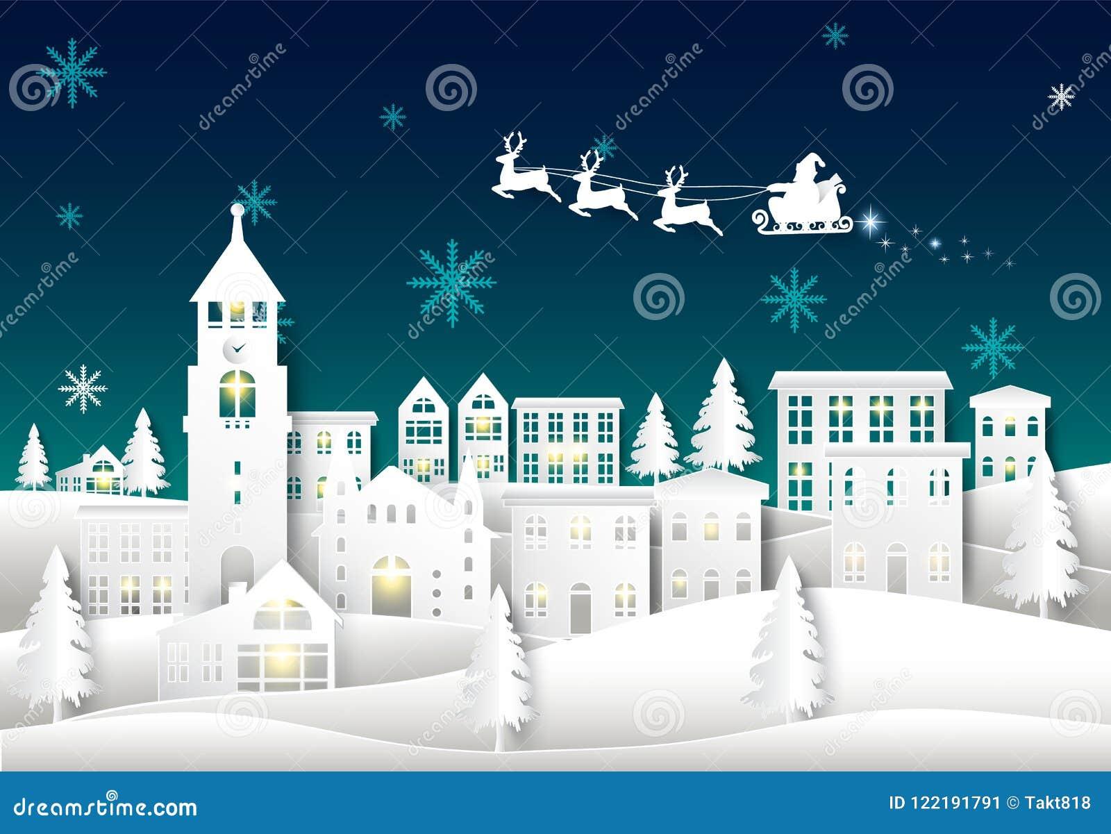 Santa no céu noturno no fundo do inverno da arte do papel da cidade da cidade Chr