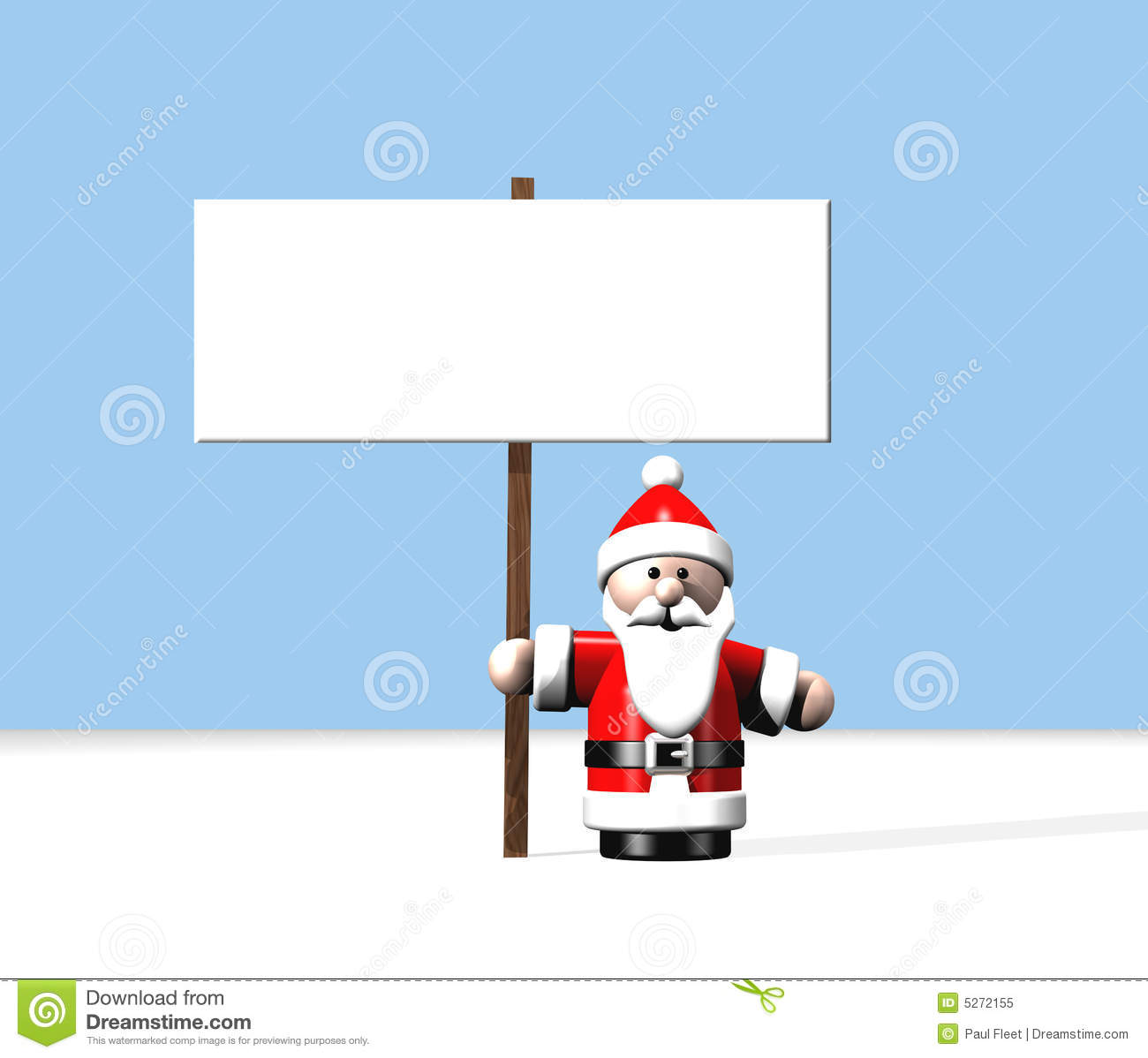 Santa At The North Pole Holding A Large Blank Sign Royalty Free Stock ...