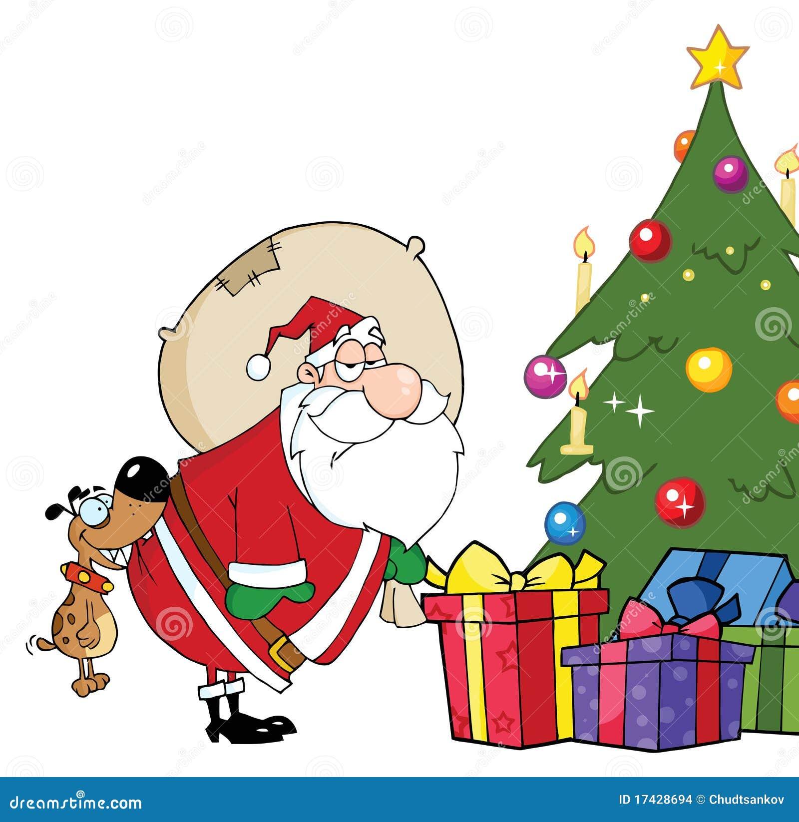 Santa põr presentes sob a árvore de Natal