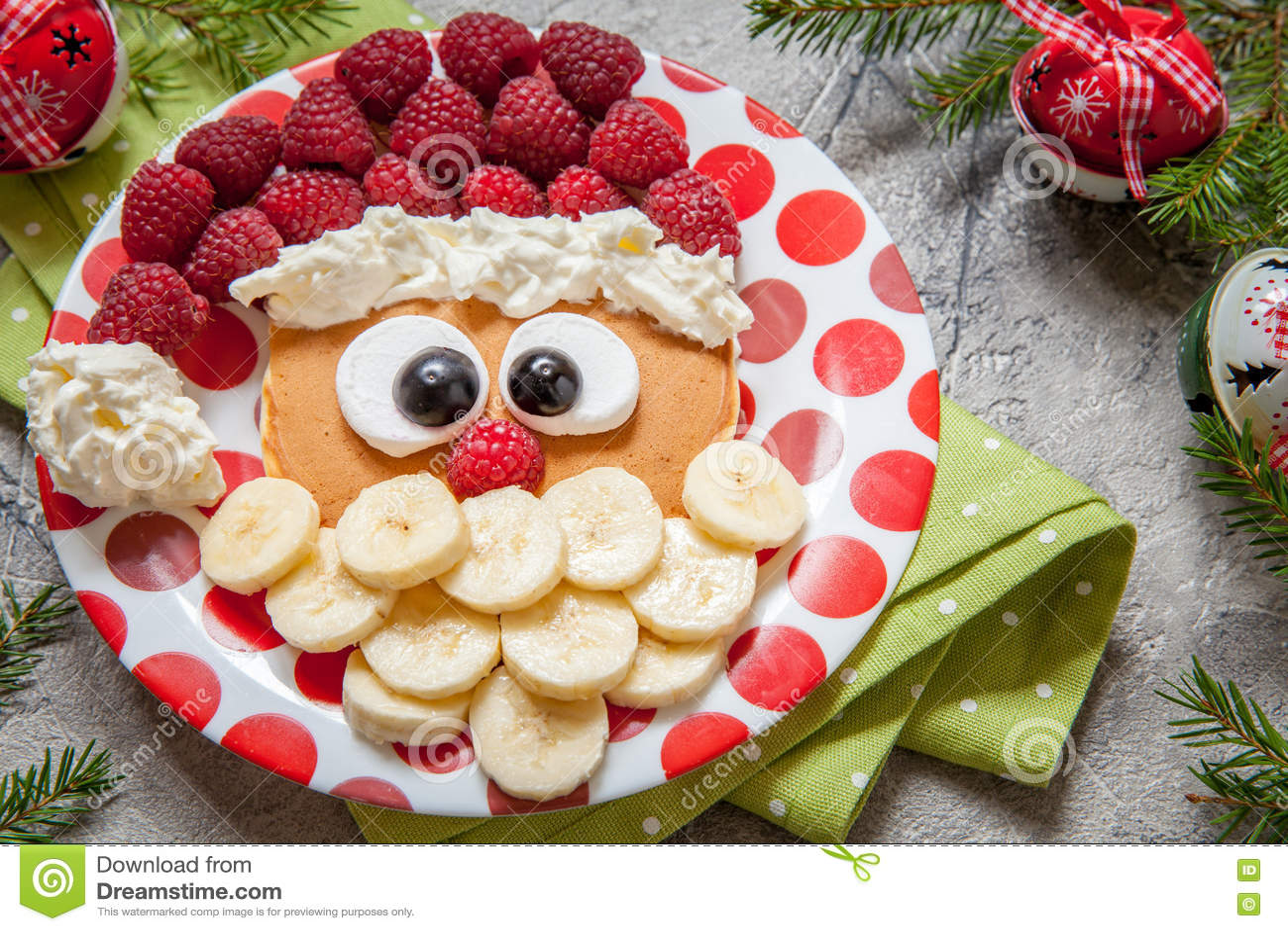 Santa Pancake With Raspberry For Kid Breakfast Stock Photo - Image ...