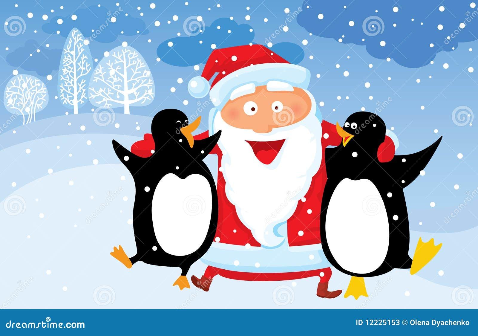 Santa with penguin