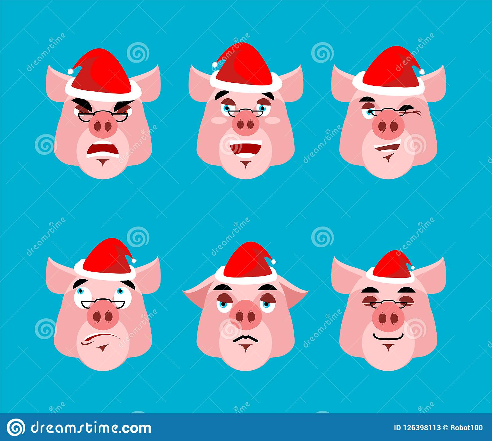 Santa Pig Emoji Set  Face Collection  Good And Evil  Cheerful An