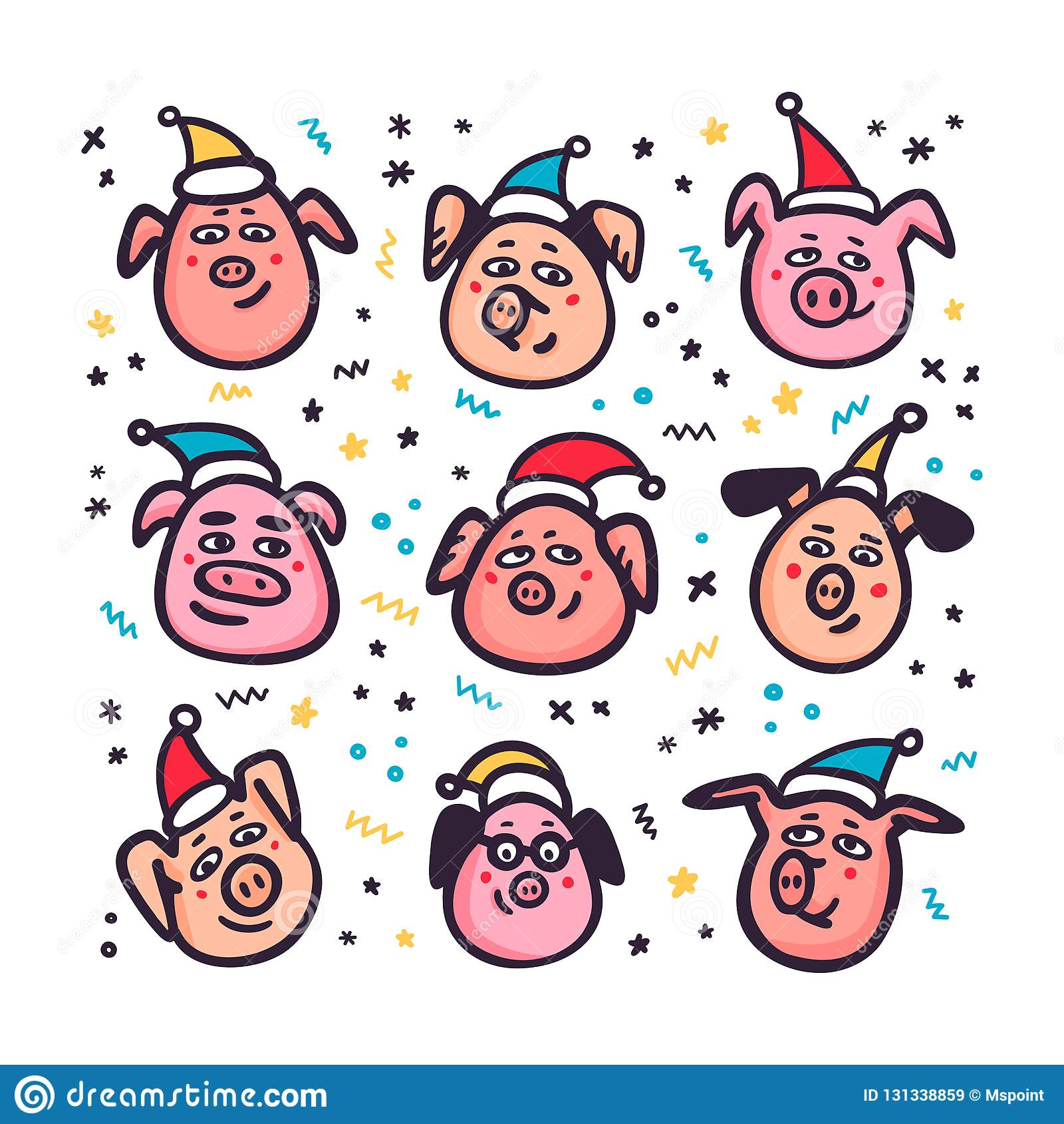 7b7db2bf884a9 Santa Pigs. Funny pigs with santa hats. 2019 Chinese New Year symbol.  Doodle style characters for greeting cards