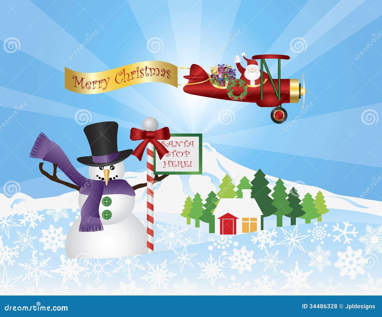 santa in plane flying over snow scene stock vector illustration of