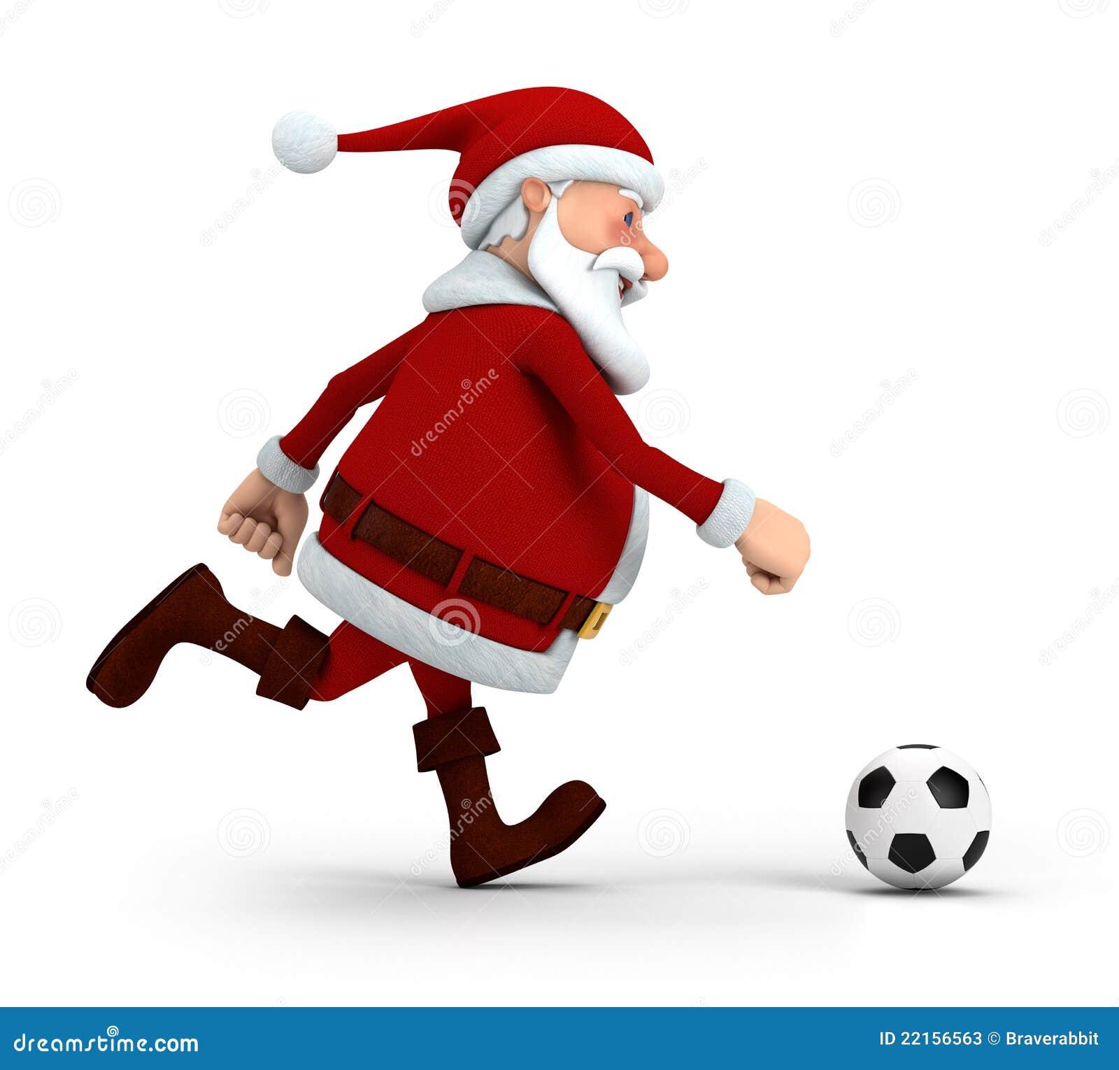 Santa playing soccer stock illustration image of happy