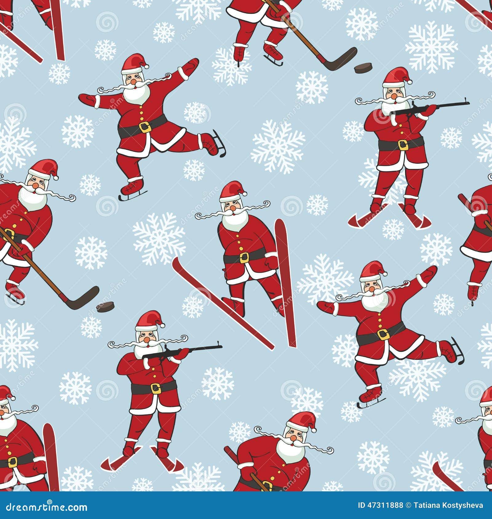 Santa Playing Winter Sports.Seamless Pattern Stock Photo ...