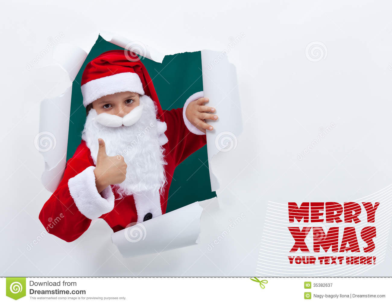 santa popping out of torn edges hole with thumbs up sign stock image