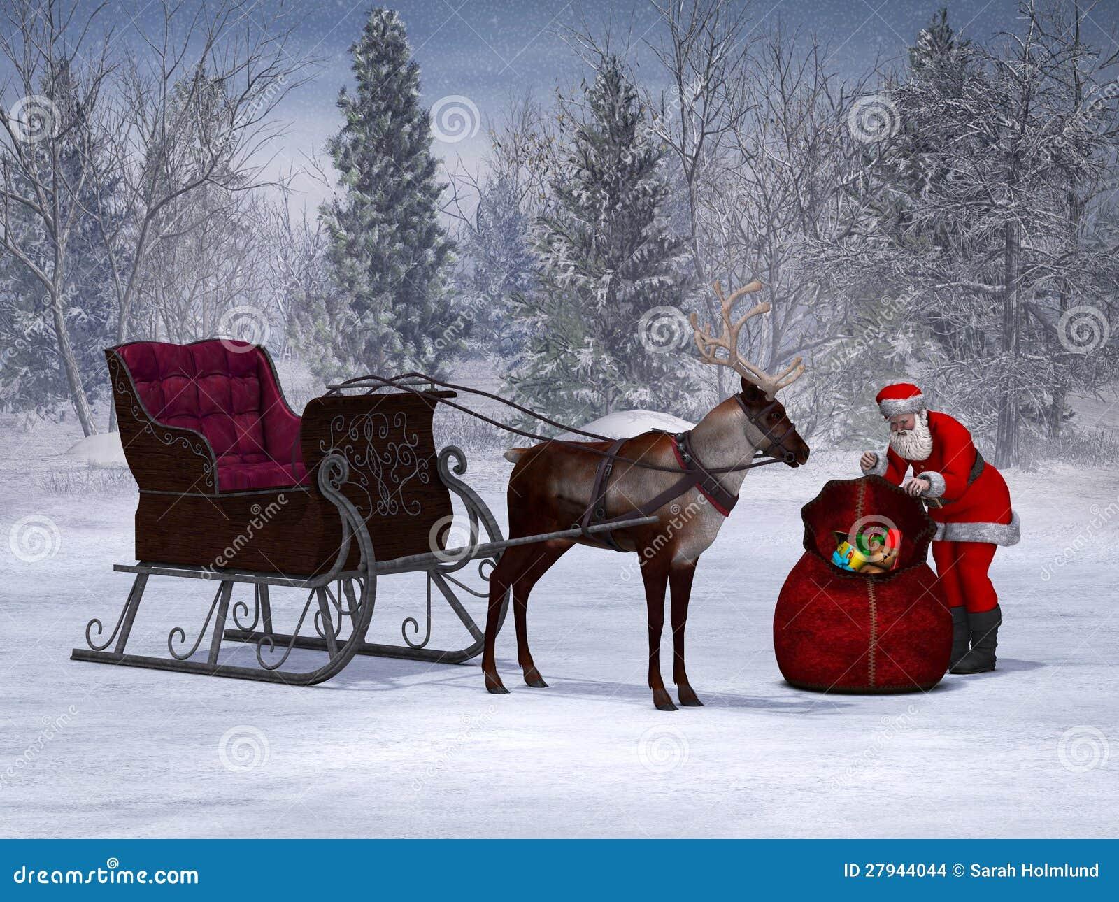 Santa Preparing His Sleigh Ride. Stock Images - Image: 27944044