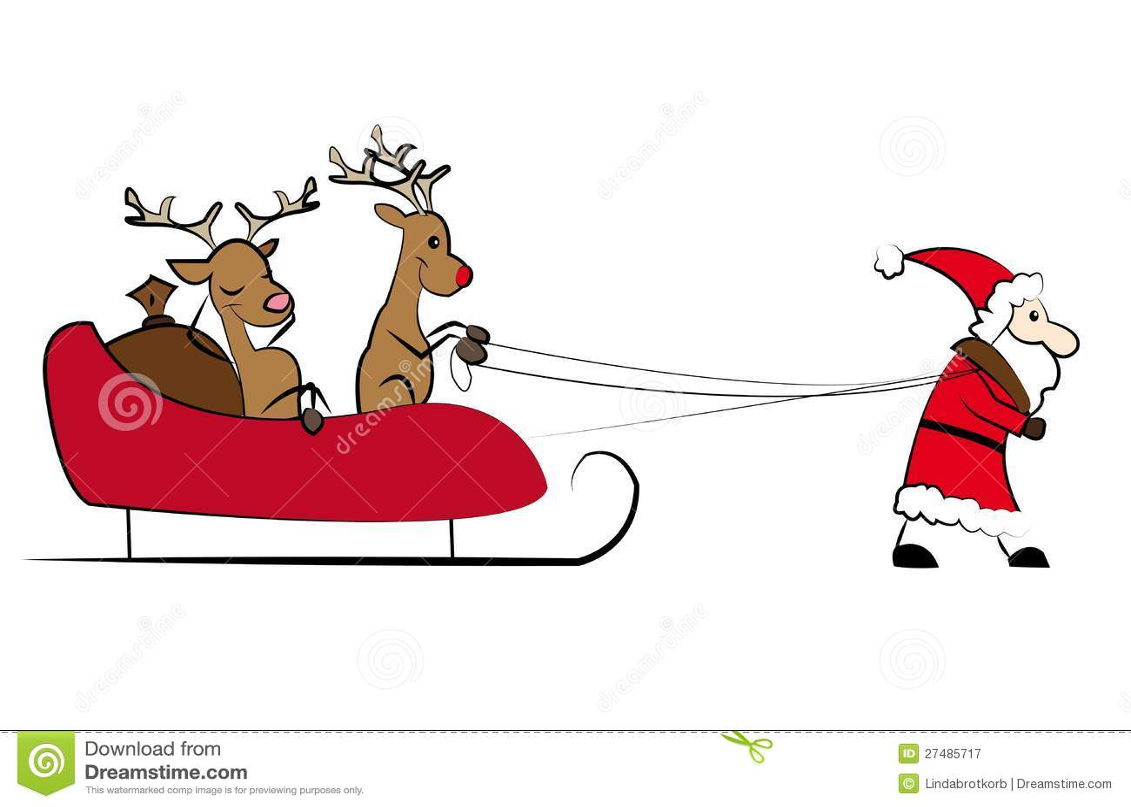 santa pulling the christmas sleigh stock vector illustration of