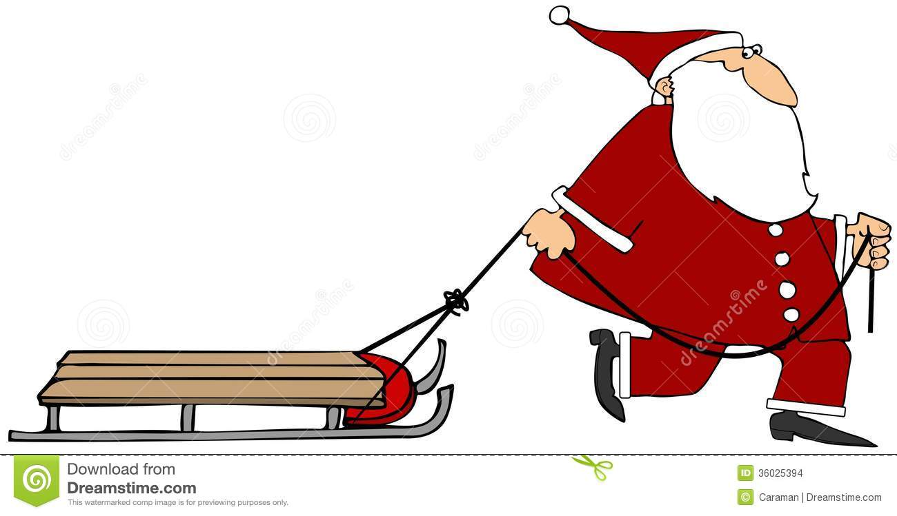 This illustration depicts Santa Claus pulling an empty sled.