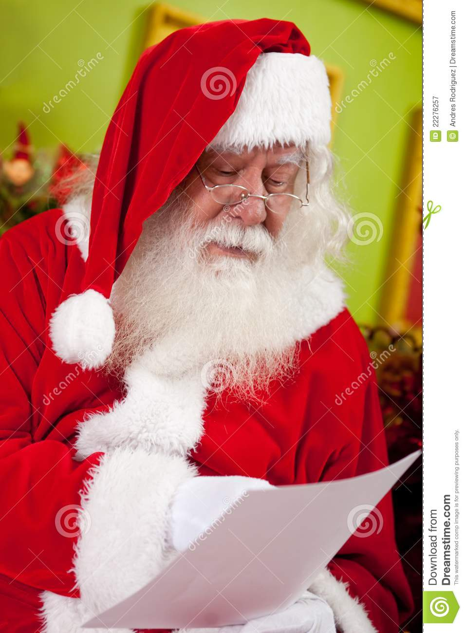 Santa Reading A Christmas Letter Stock Image