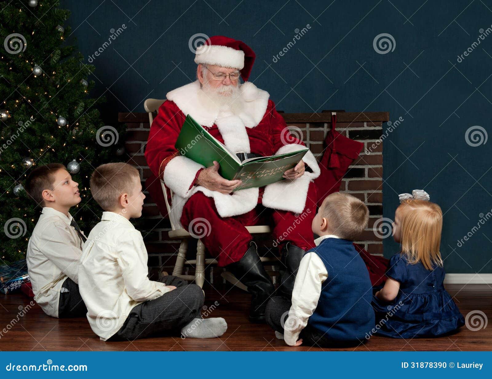 Santa reading to kids stock photo. Image of book, saint - 31878390