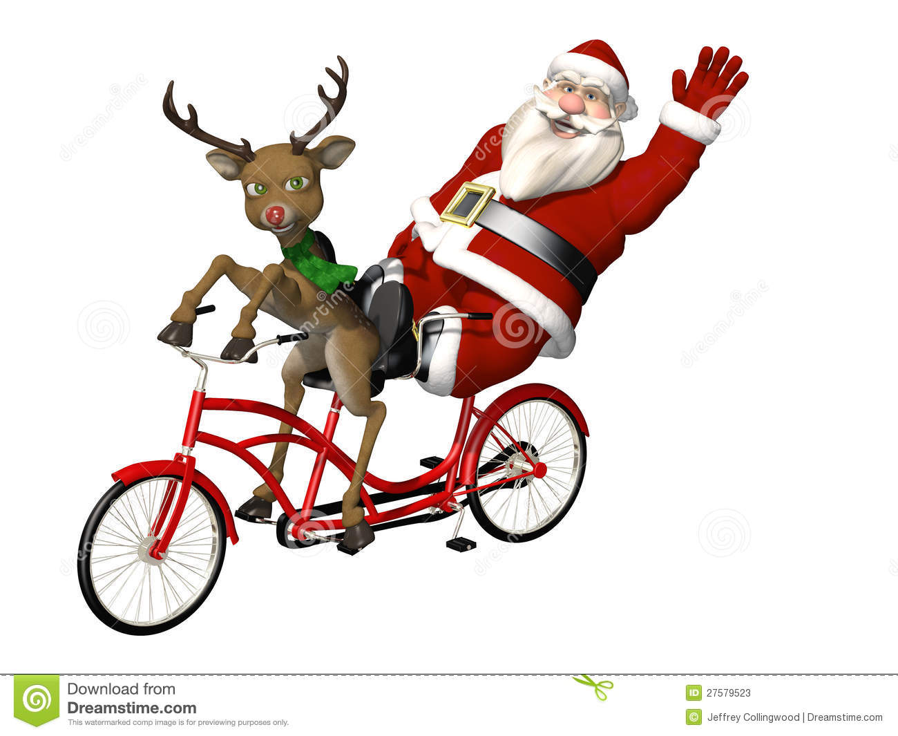 Santa and Reindeer - Bicycle Built for Two: A red nosed reindeer ...
