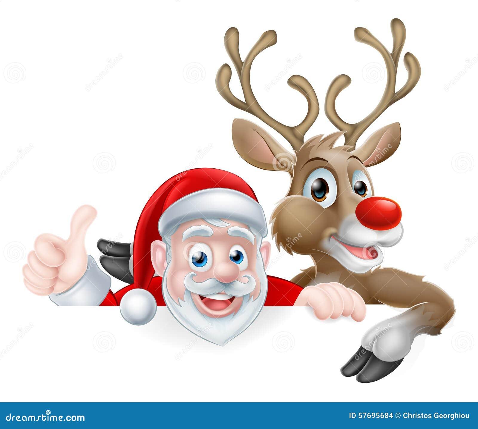 Santa and Reindeer Cartoon stock vector. Illustration of ...