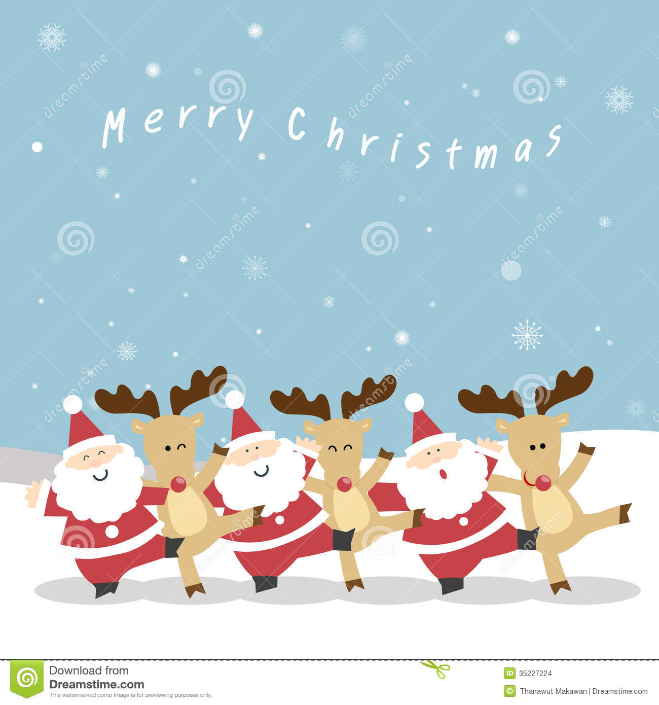 santa and reindeer christmas stock images image 35227224