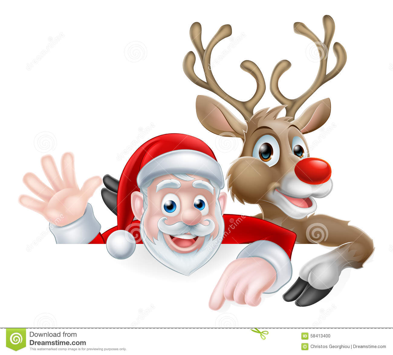 santa and reindeer christmas illustration stock vector