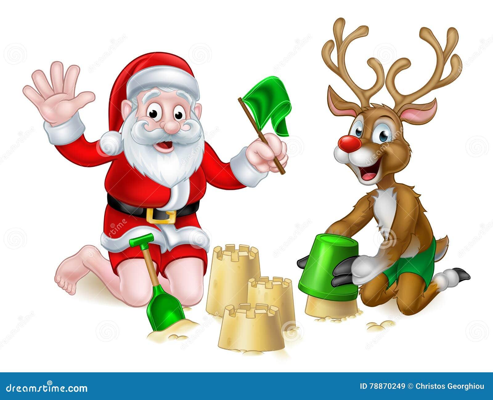 Santa And Reindeer Christmas Summer Beach Stock Vector ...