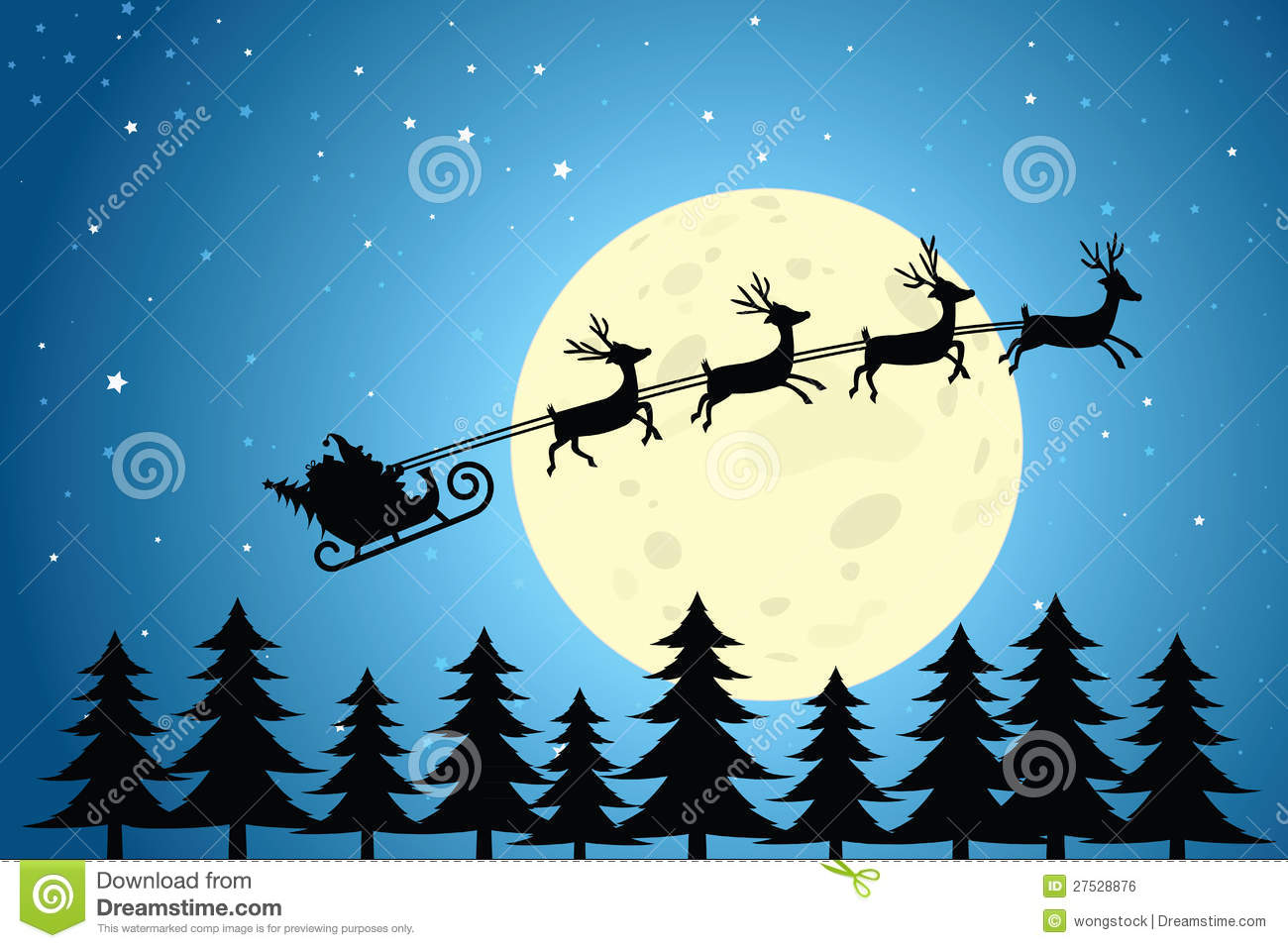 Santa And Reindeer Flying Through The Night Sky Stock