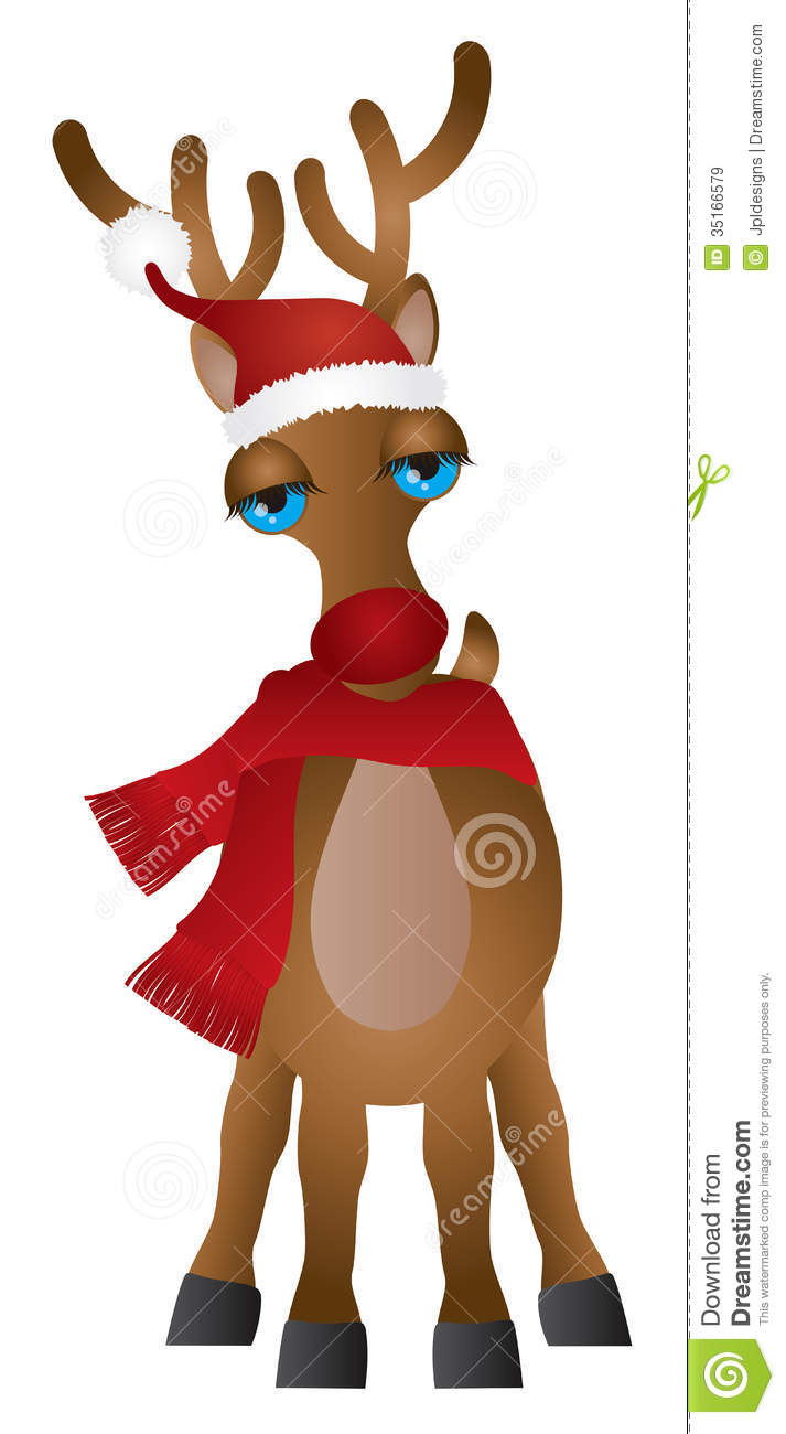 914d2091d38f6 Santa Reindeer with Christmas Red Santa Hat and Scarf Isolated on White  Background Illustration