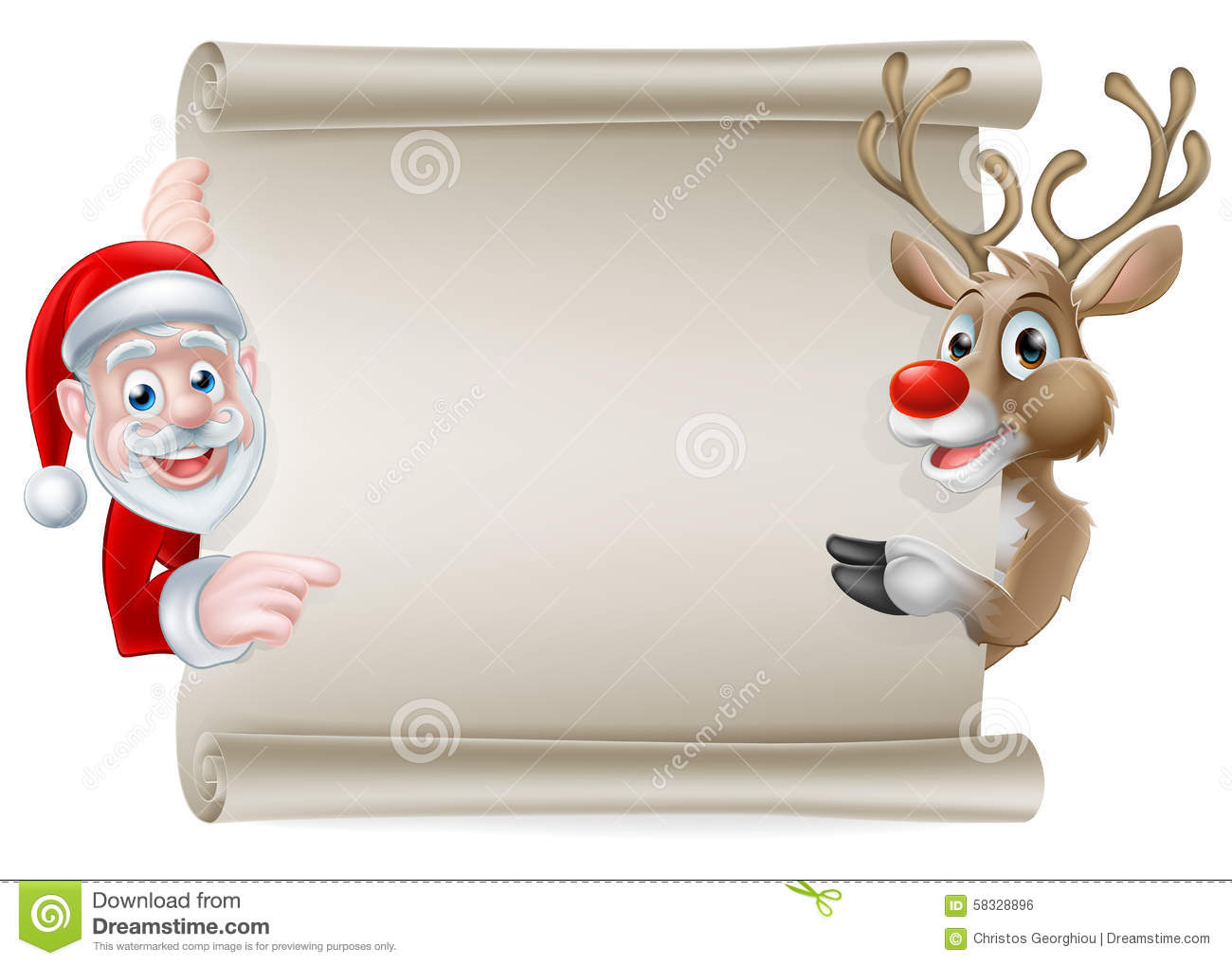 Santa reindeer scroll stock vector image of corners for Scroll letter from santa