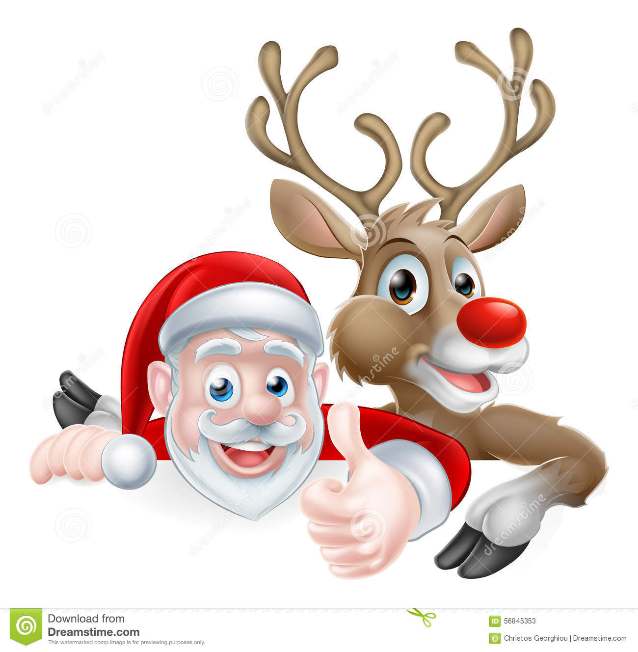 Christmas Giving Clipart.Santa And Reindeer Sign Stock Vector Illustration Of