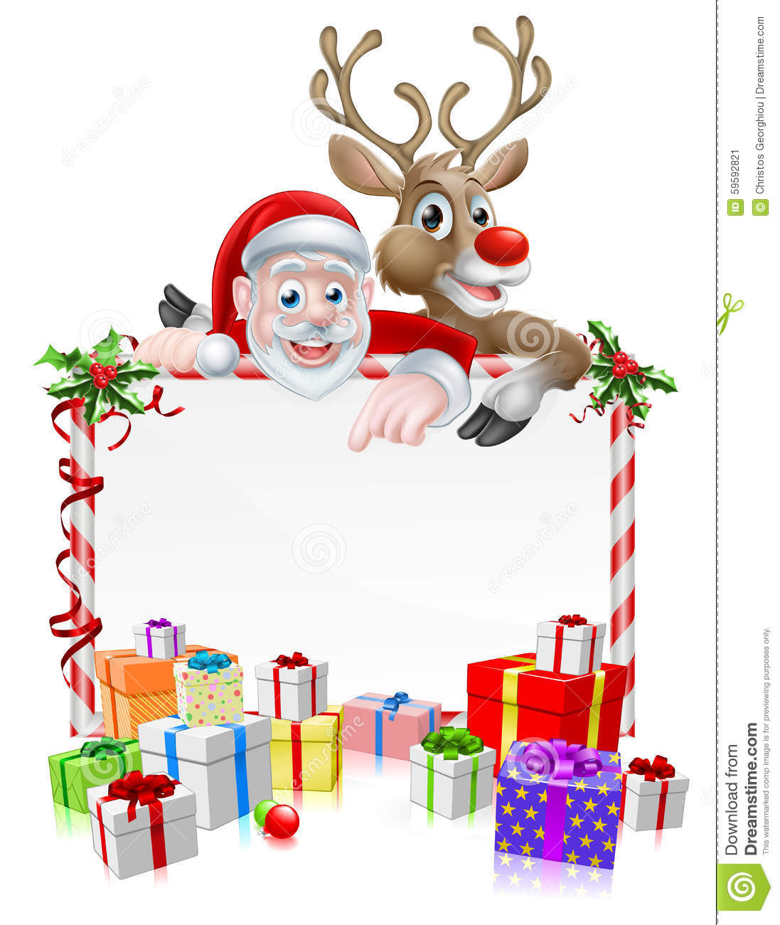 Santa and reindeer sign stock vector image of invite