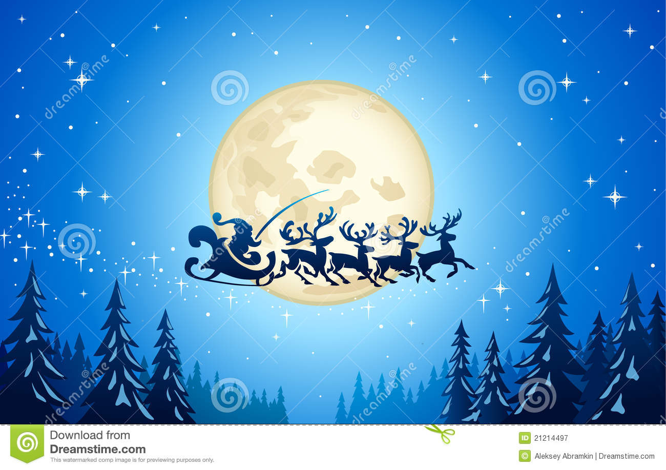 santa and reindeer in sky royalty free stock photography image