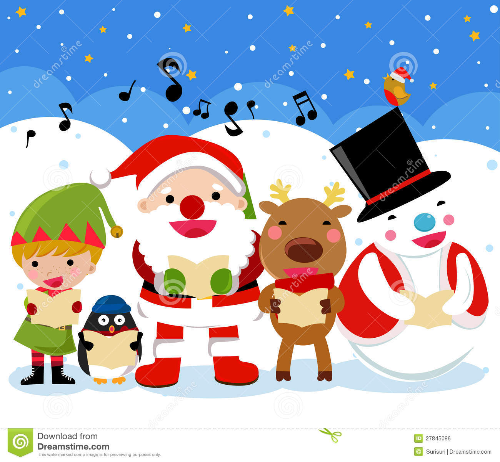 santa reindeer snow man elf and penguin christmas royalty free
