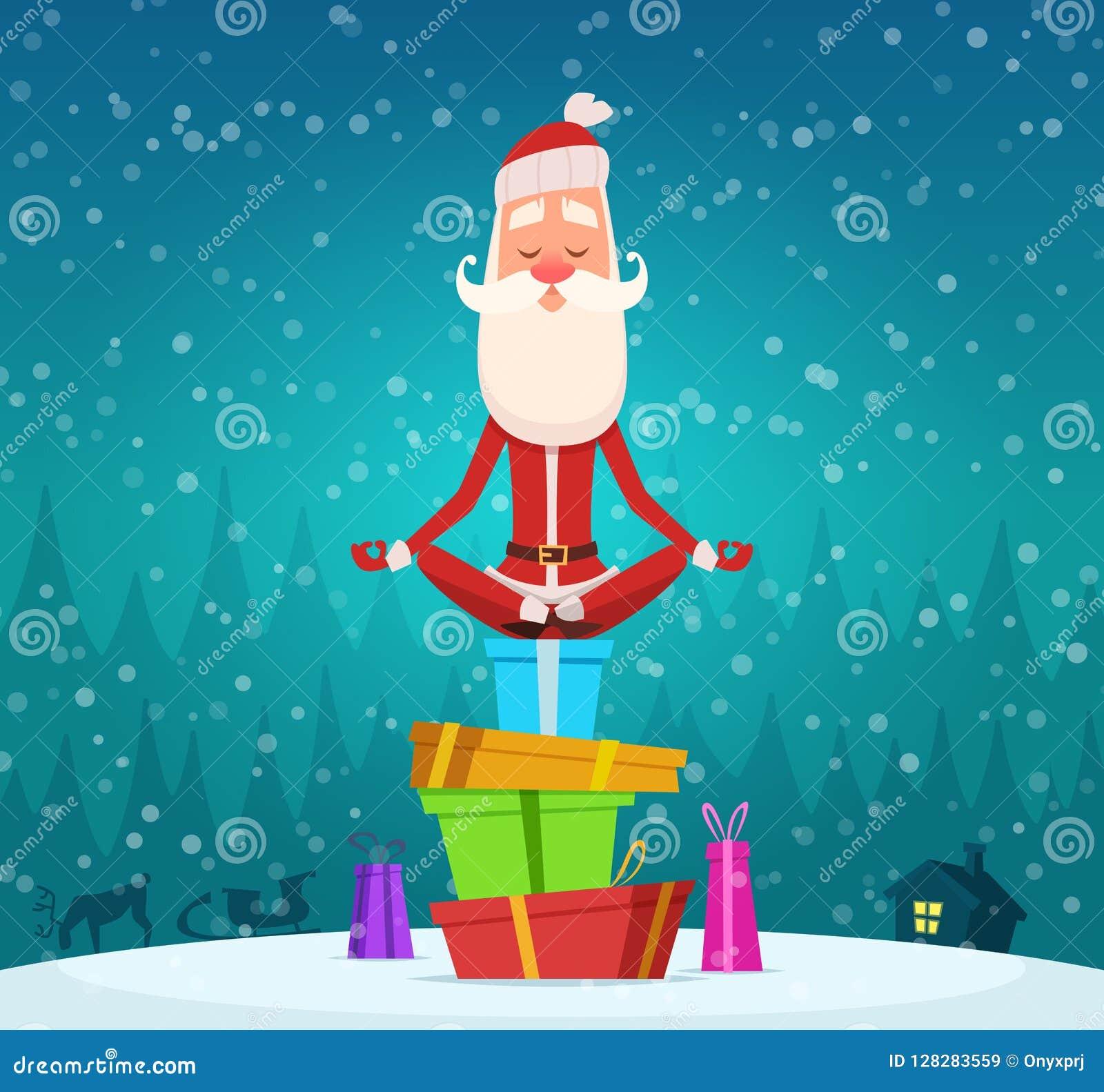 Santa relaksuje medytację Zim bożych narodzeń wakacyjny charakter Santa Claus robi joga exercices maskotki plenerowemu wektorowem