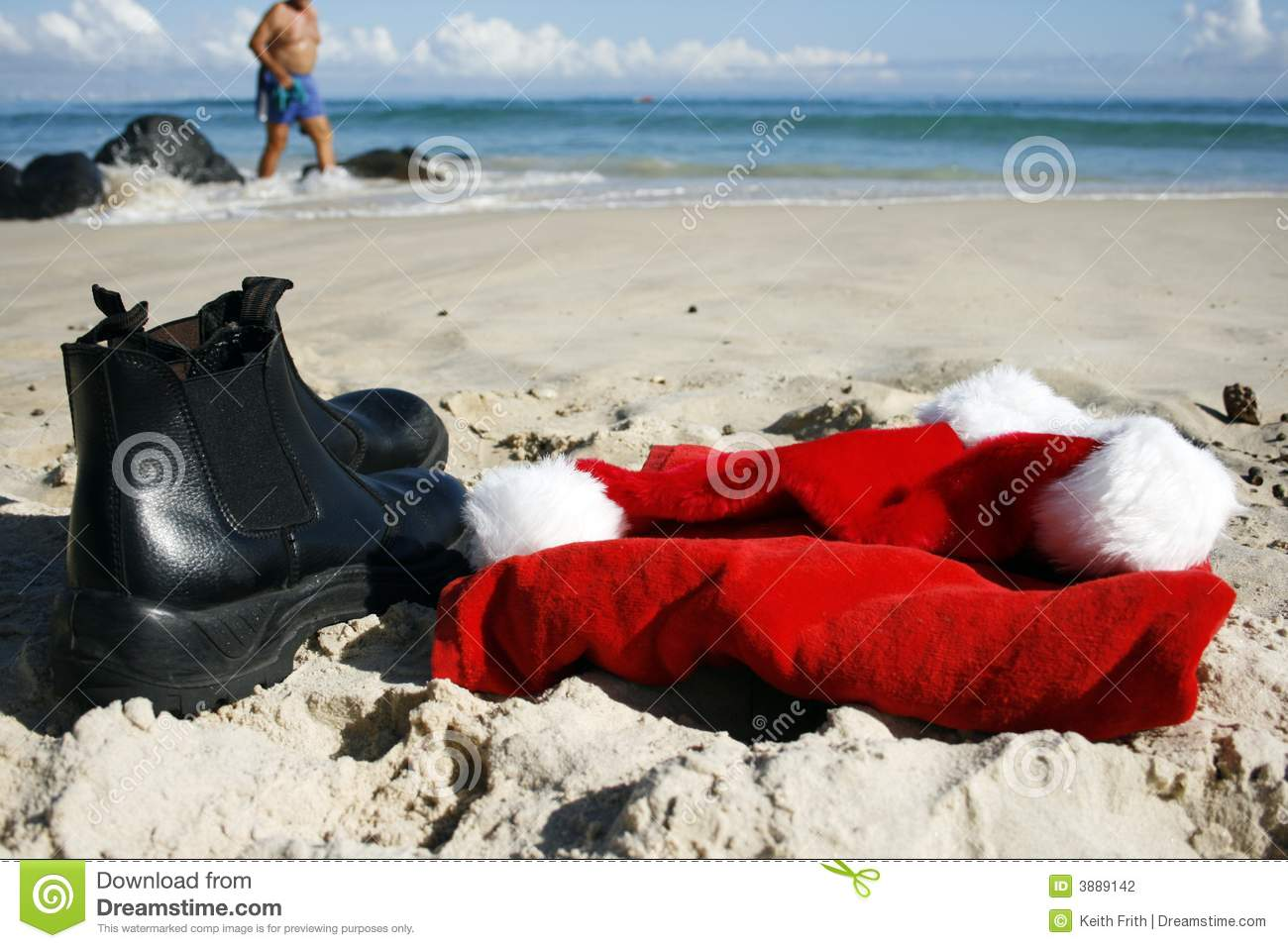santa relaxing on boxing day stock photography
