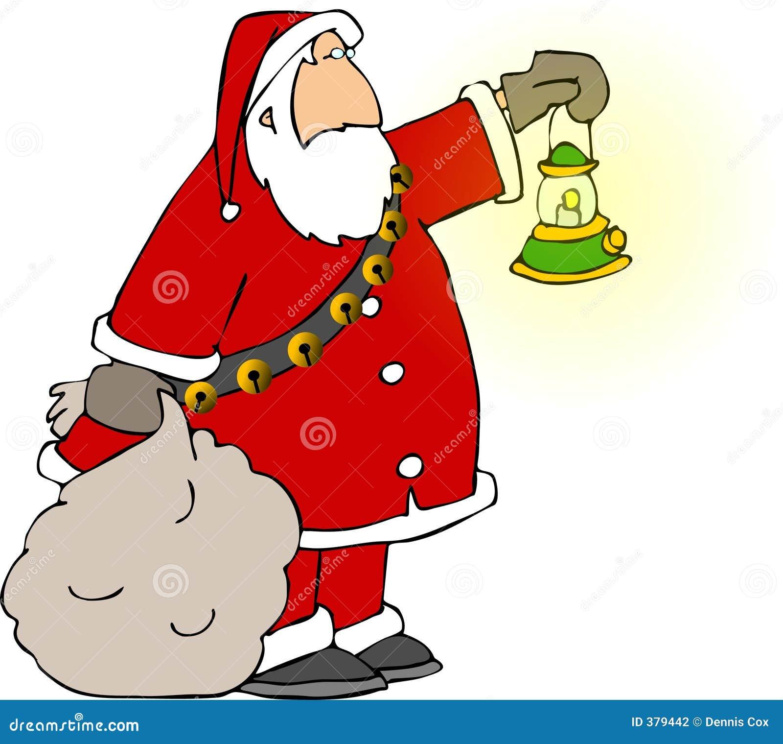 Santa retenant un sac et une lampe