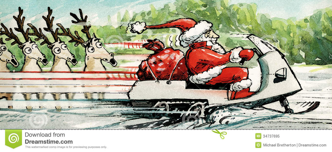 Original illustration of santa claus riding a snowmobile laden with a