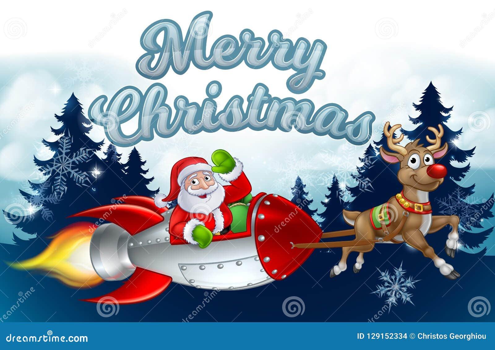 Santa Rocket Sleigh Merry Christmas Background
