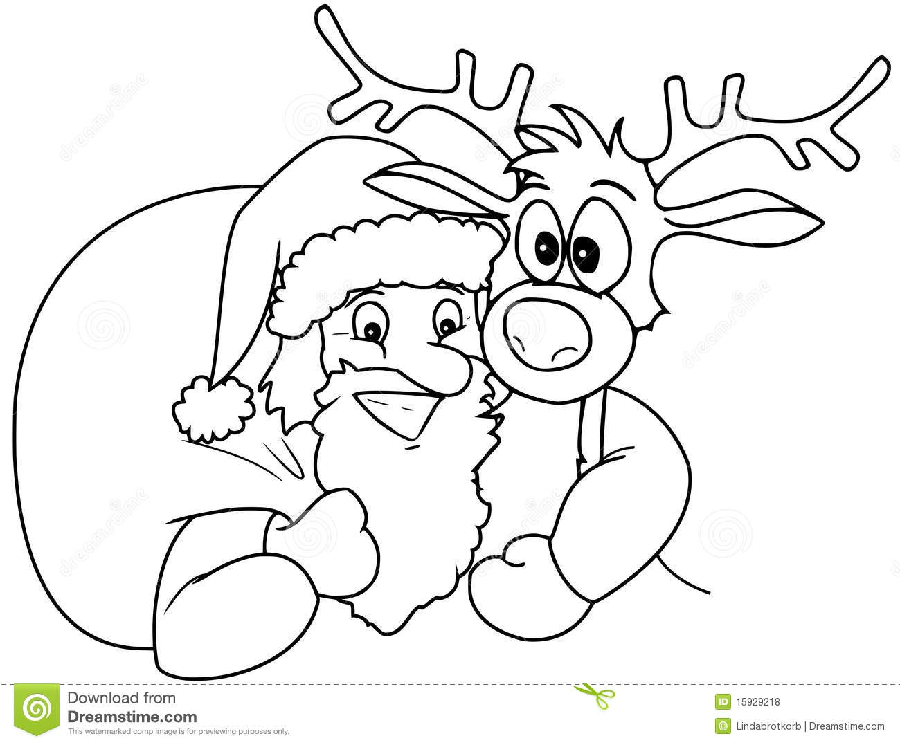 It's just a photo of Impeccable Santa And Rudolph Coloring Page
