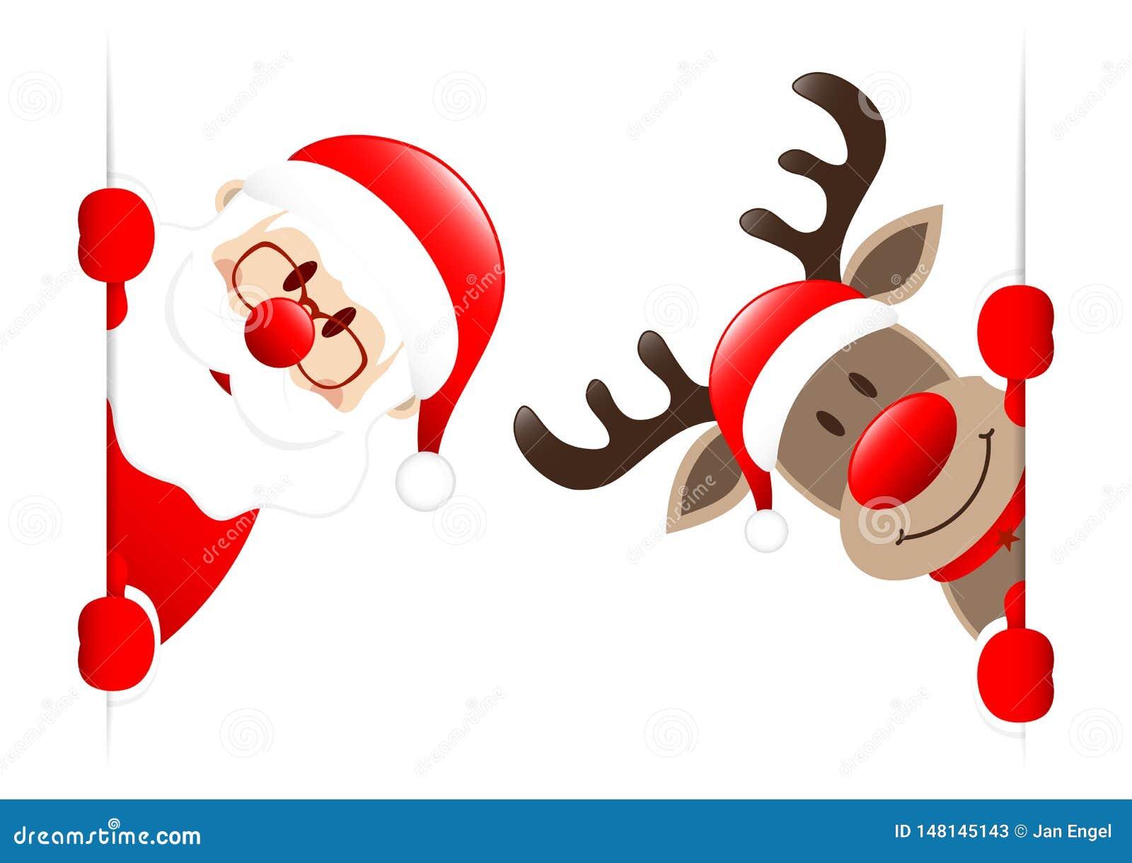 Santa And Rudolph Inside Vertical-Banner