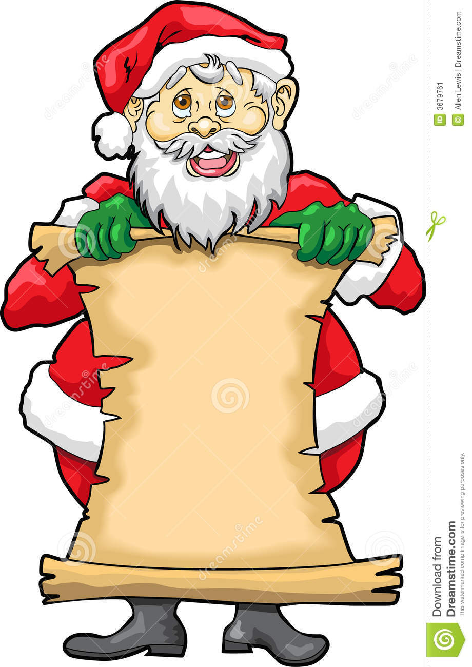 ... Santa Claus holding a blank list. Use it as a note or a Christmas List