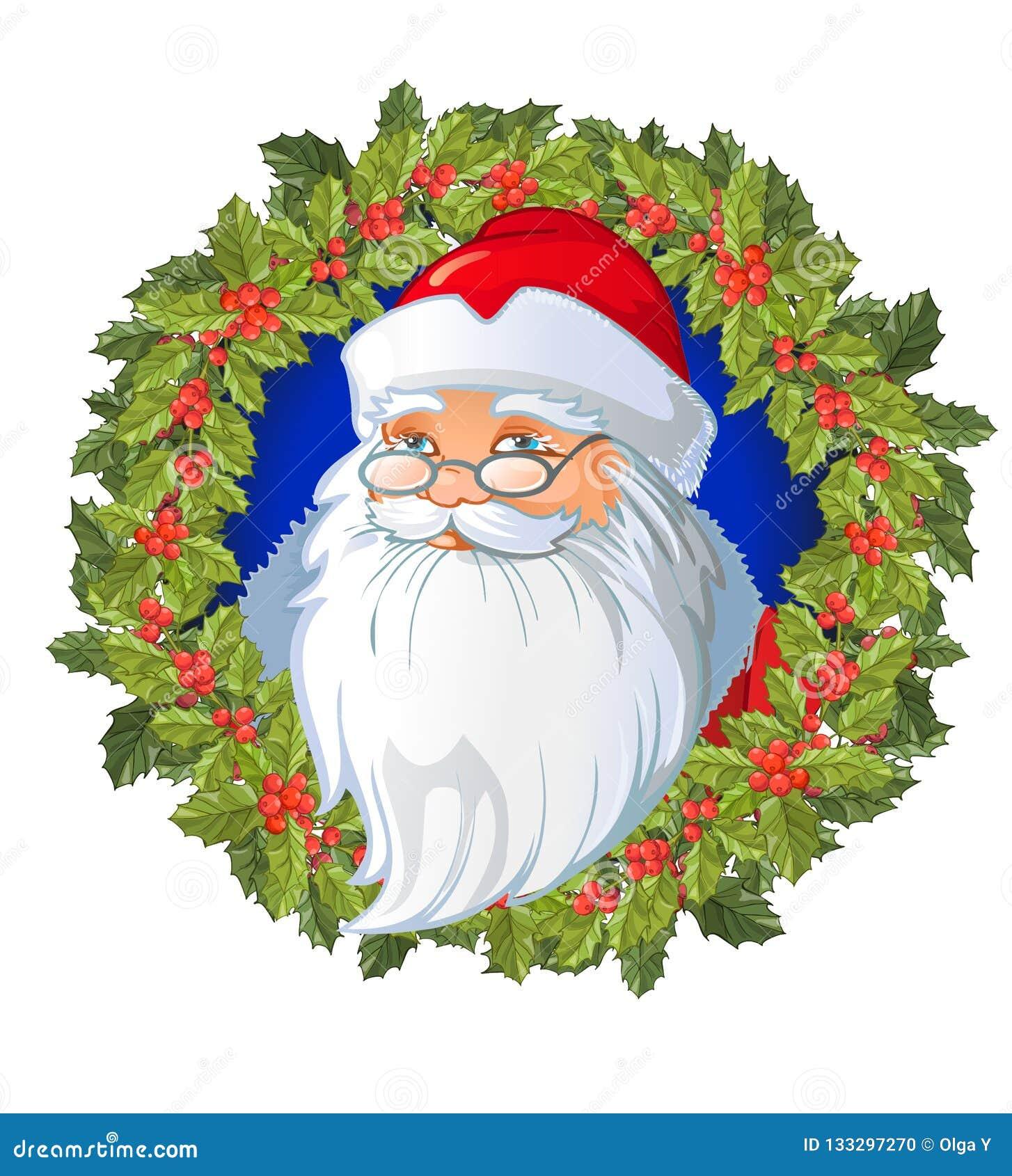 Santa S Cartoon Head On The Christmas Wreath Decorated With