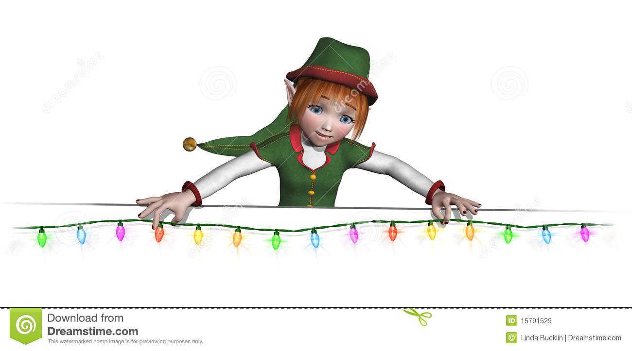 Santa's Elf Is Hanging Christmas Lights Royalty Free Stock Images ...