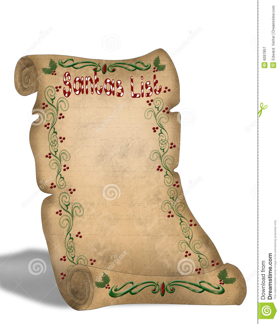 Santa\'s List On Old Parchment Scroll Stock Illustration ...