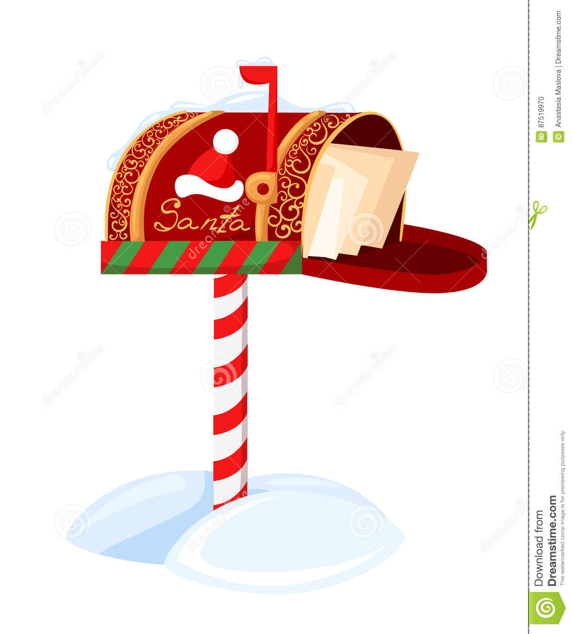 Santa S Mailbox Vector Illustration Of A Letter For Santa Claus