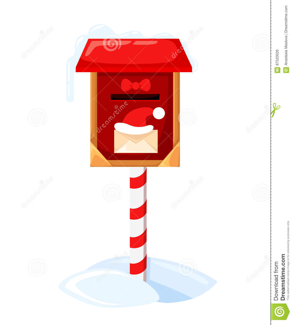 santa s mailbox vector illustration of a letter for santa claus merry christmas and happy new year mail wish list snow