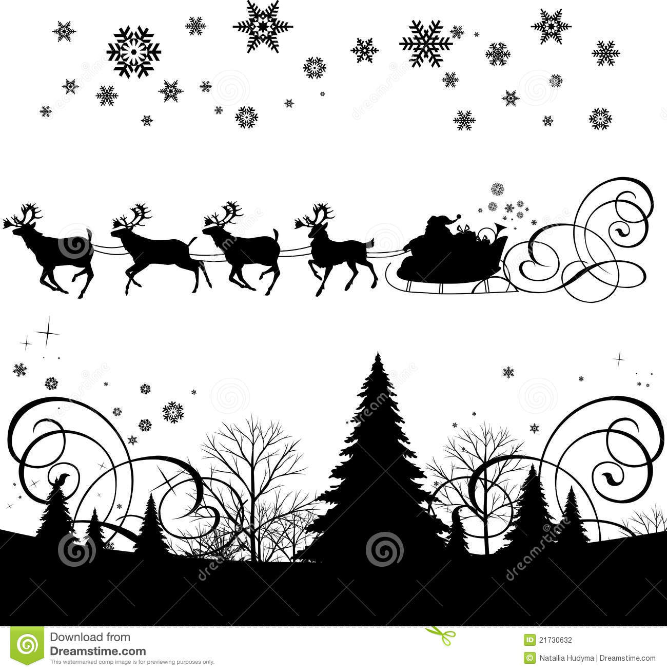 santa s sleigh stock photography image 21730632 poinsettia clipart black and white poinsettia clip art free border