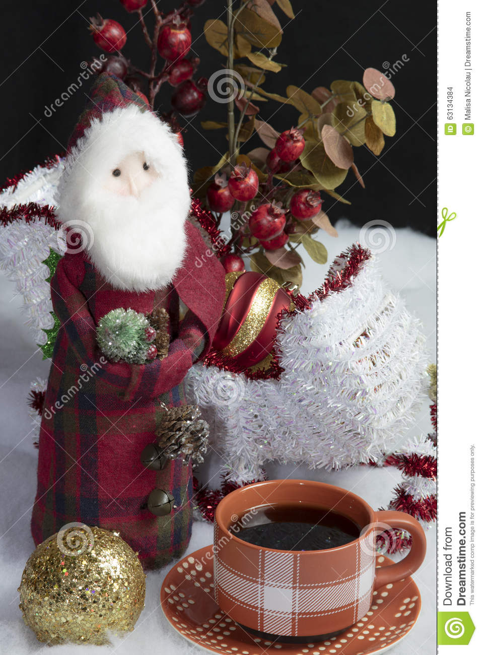 Santa\'s Sleigh Setting For Christmas And Coffee Stock Photo - Image ...