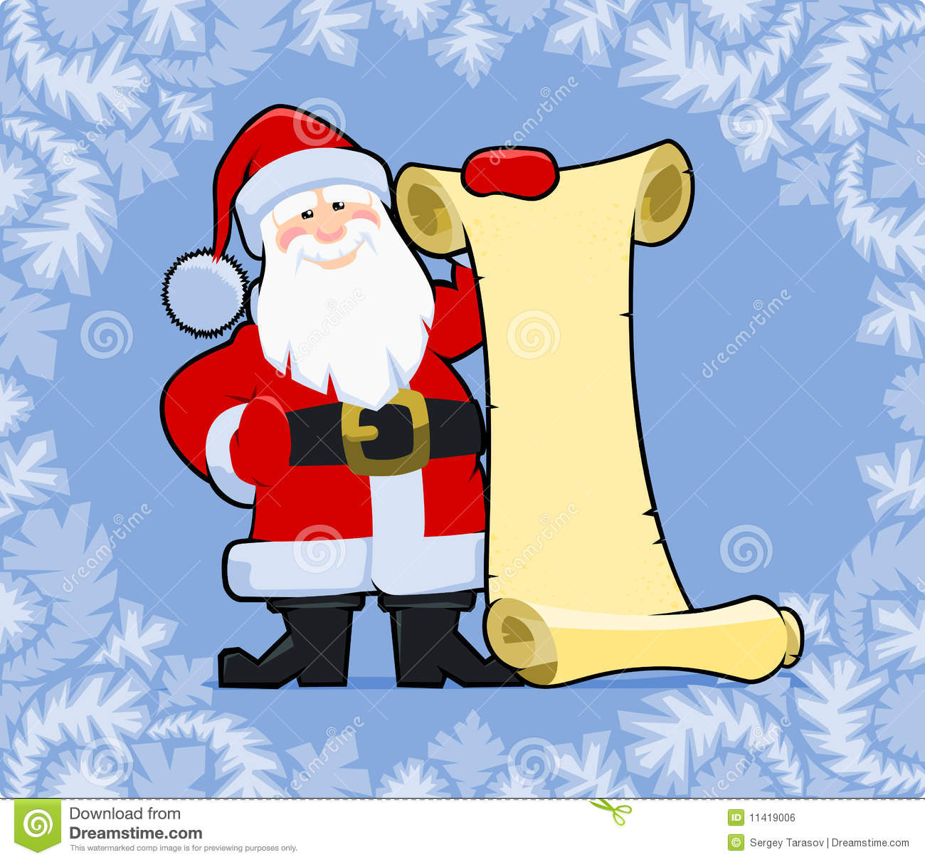 Santa Claus holding blank paper scroll. Christmas greeting card.