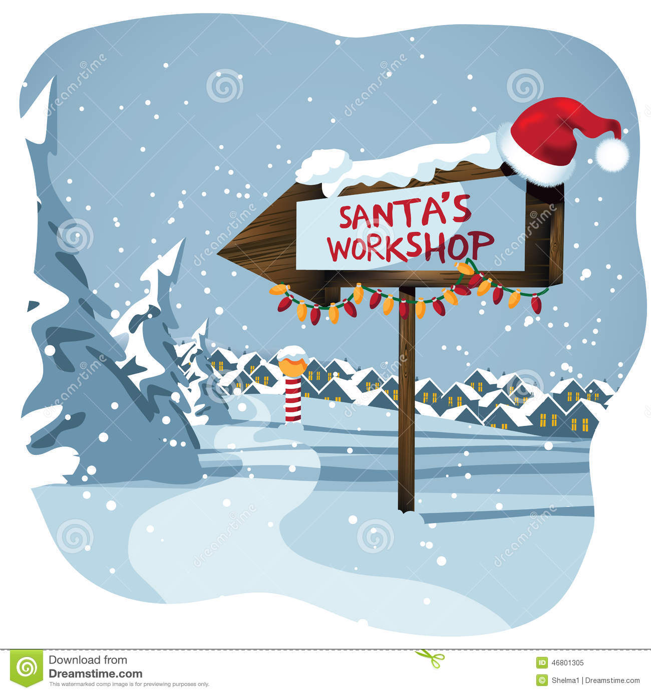 Santa's workshop sign at the north poleEPS 10 vector illustration.