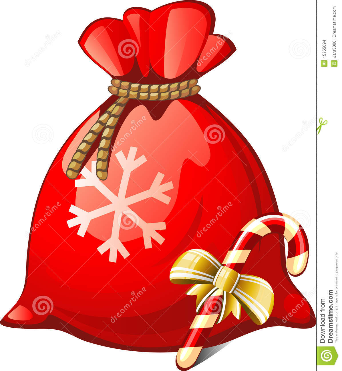 Santa sack stock vector image of shape candy gift