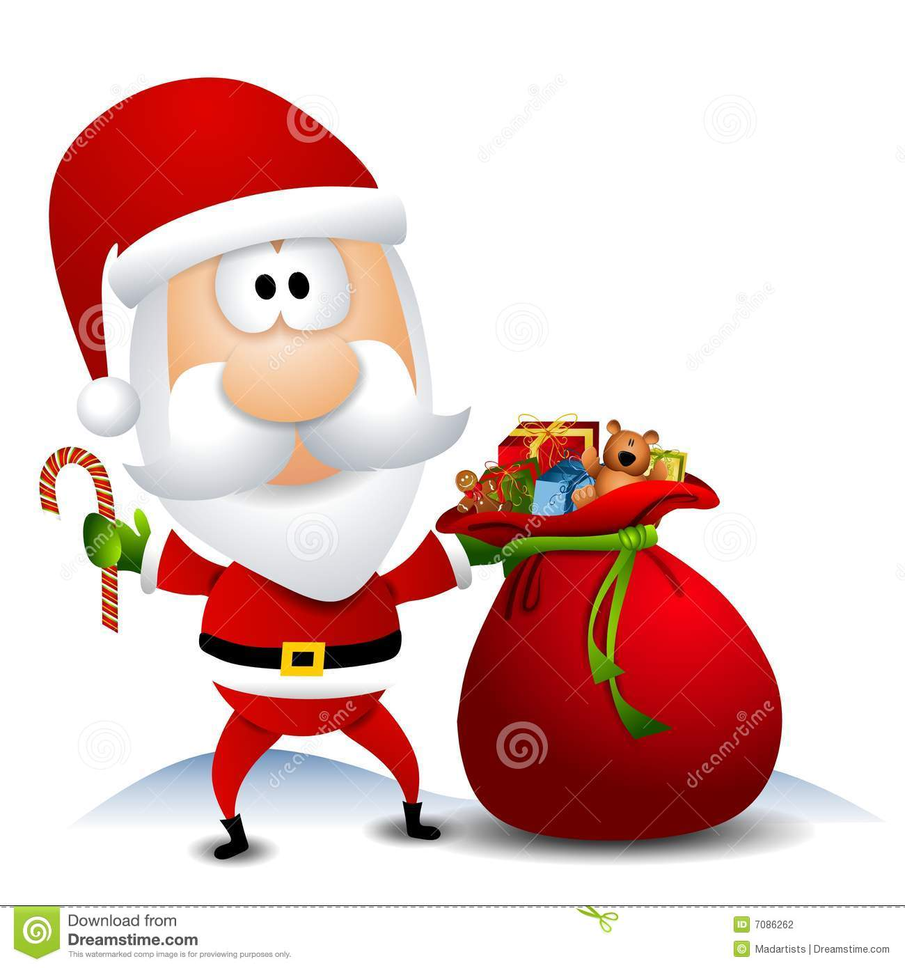 Toys From Santa : Santa with sack full of toys stock photography image