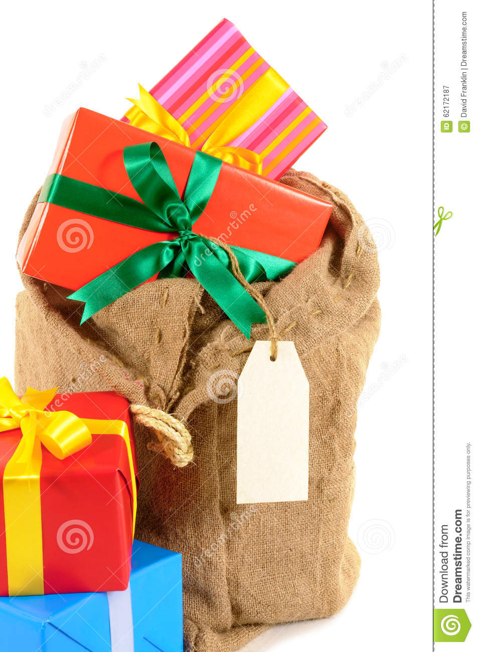 Santa Sack Or Mail Bag Full With Pile Of Christmas Gifts Isolated On ...