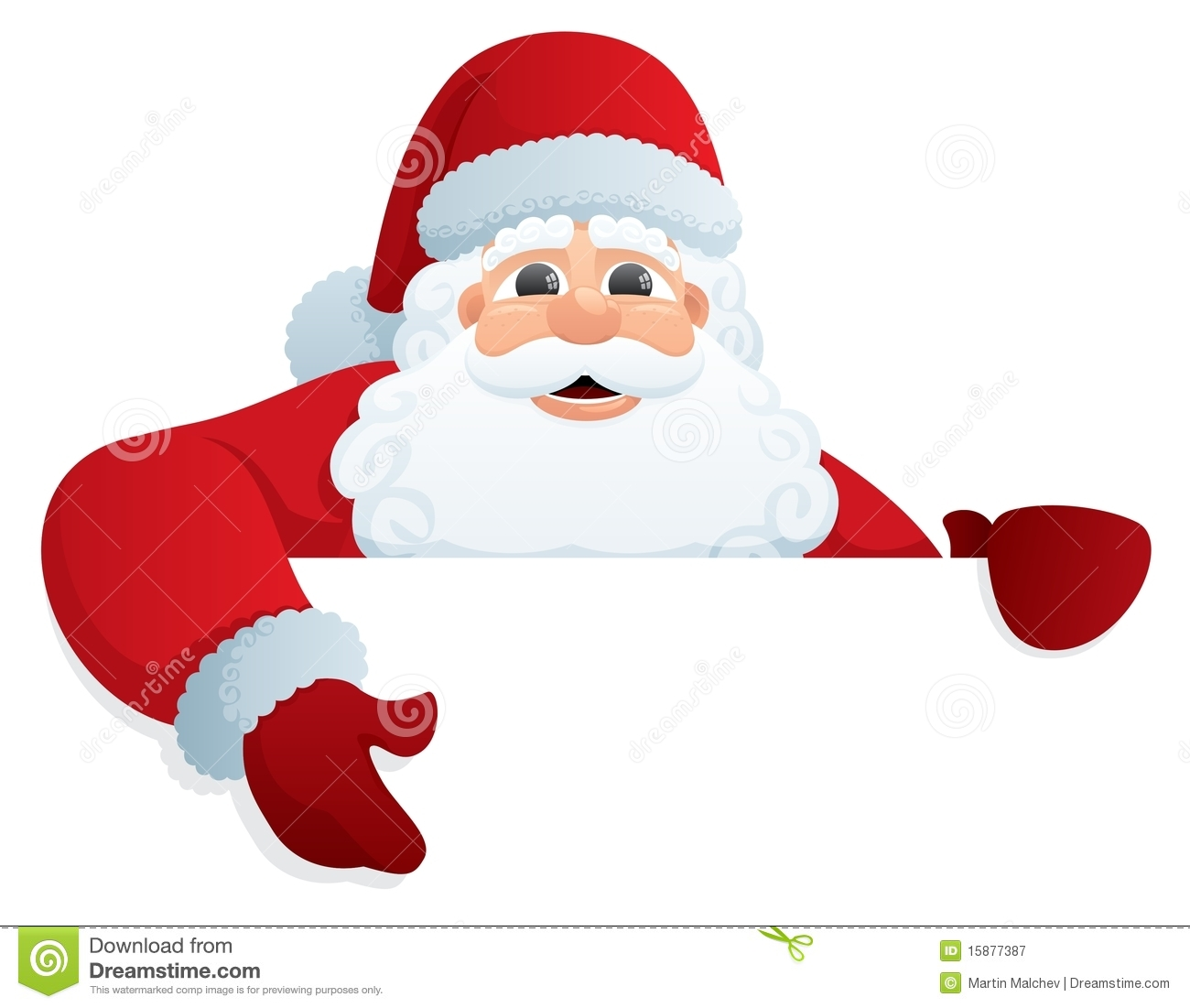 Santa Claus, holding a blank sign. You can add as much white space as ...