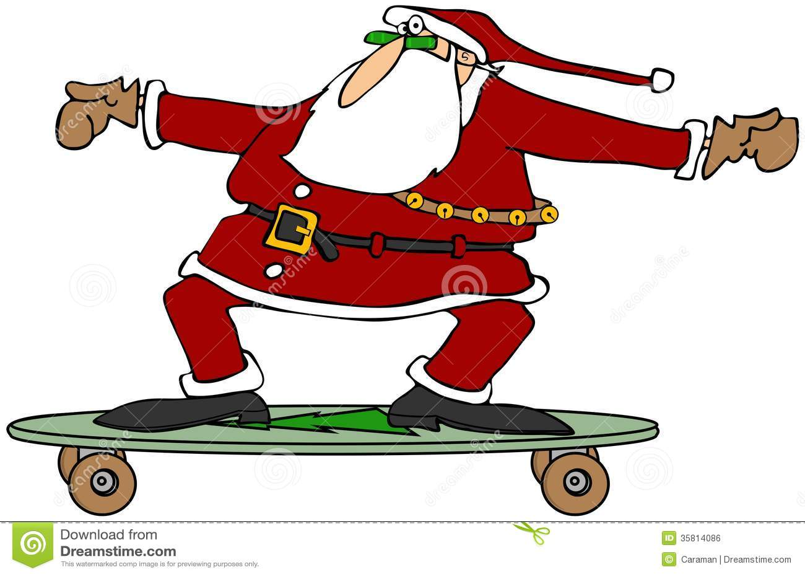 Santa On A Skateboard Stock Illustration Image Of Play Click Santa Claus Skateboard